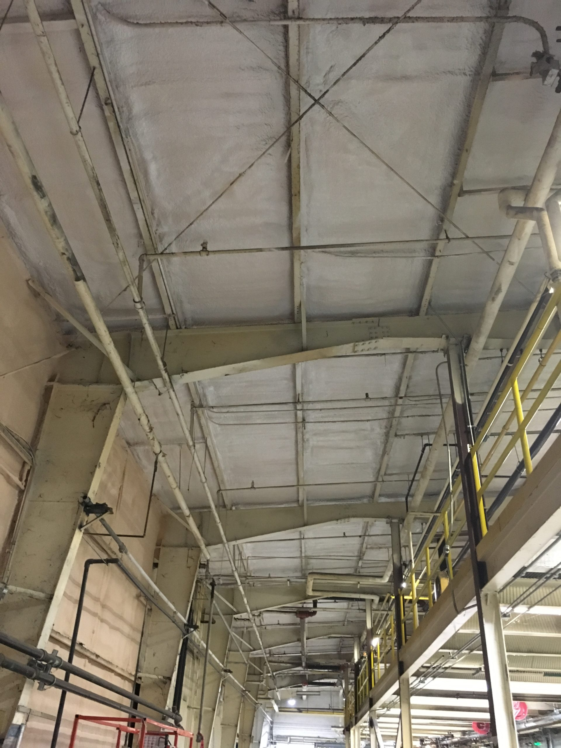 industrial plant roof insulated and fire protection installed